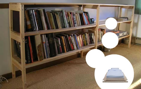 "IKEA Bett ""Vestby"" in Bücherregal umbauen"